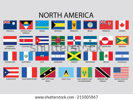 Flags North America Vector Stock Vector Shutterstock - What countries are in north america