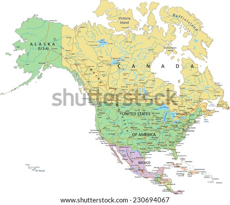 North America Political Map Pastel Colors Stock Vector 224451586