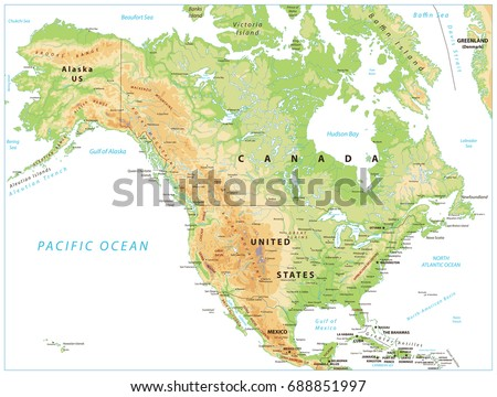 High Detailed North America Physical Map Stock Vector - United states of america physical map