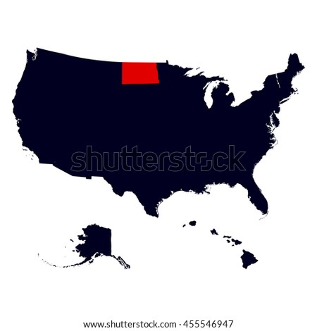 United States America Map Flag Vector Stock Vector - North dakota on the us map
