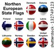 Northern European States Flags - stock
