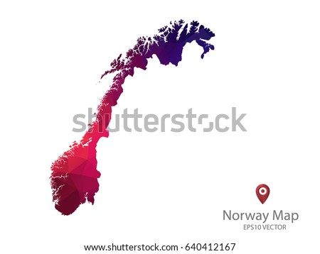 Bright Norway Map National Colors Geometric Stock Vector - Norway map eps