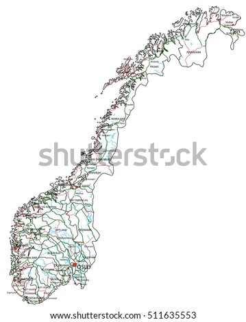 Norway Modern Pixel Map Stock Vector Shutterstock - Norway highway map