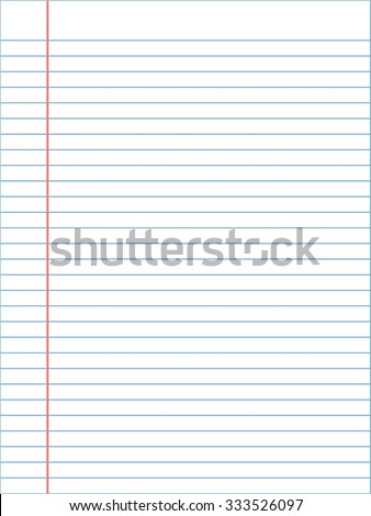 White Lined Paper Sheet Margin On Stock Vector