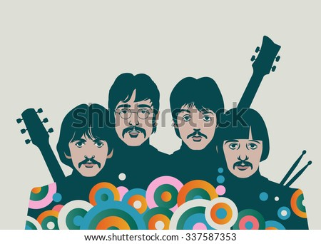 NOVEMBER 8 2015: Vector Illustration of The Beatles with instruments, George Harrison, John Lennon, Paul McCartney and Ringo Starr, eps10, vector, illustrative editorial - stock vector