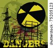 nuclear danger warning background - stock photo