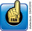 number one fan foam hand on blue halftone web button - stock vector