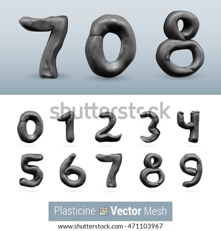 Numeral Gray Color Isolated on Background Set