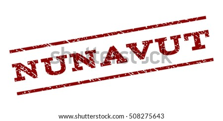 Nunavut watermark stamp. Text caption between parallel lines with grunge design style. Rubber seal stamp with dirty texture. Vector dark red color ink imprint on a white background.