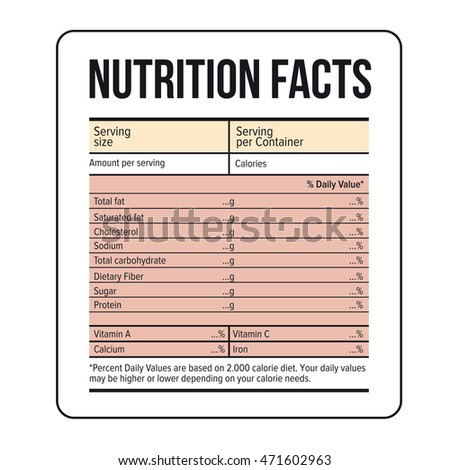 Nutrition Facts Label Template Vector Stock Vector 471602954 ...