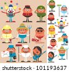 Occupations 2: Set of cartoon characters of different occupations. No transparency and gradients used. - stock photo