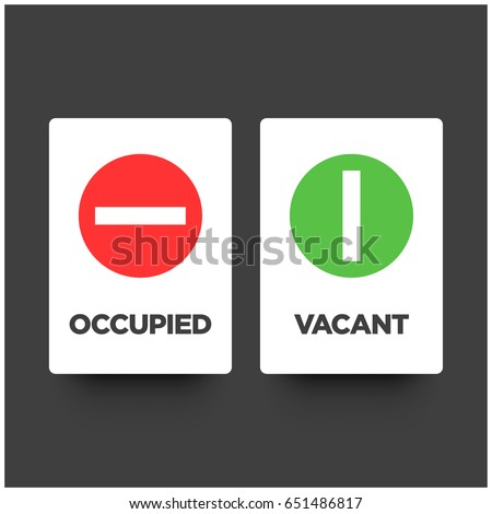Minimalist funny toilet signs him her stock vector for Bathroom occupied sign