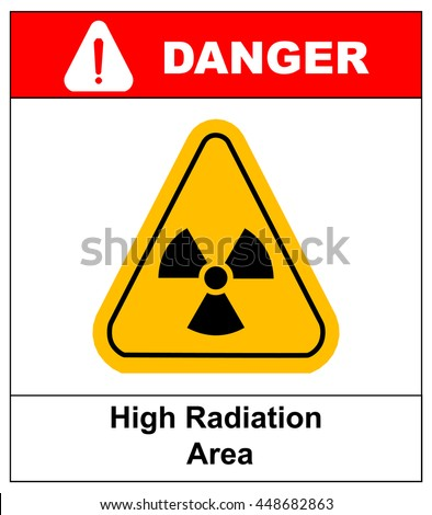 Octagon yellow and black caution with radiation hazard text and sign isolated on white background.-jpg format