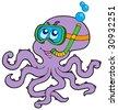 Octopus snorkel diver - vector illustration. - stock vector