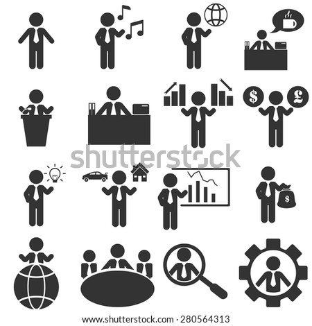 office man icons set