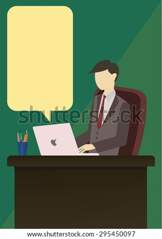 office man is working in on the desk with call out from computer
