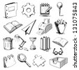 Office objects collection. Hand drawing sketch vector illustration - stock vector