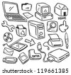 office supply doodle - stock vector