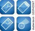 Office Supply Icons Set (part of the Cobalt Squared 2D Icons Set) - stock vector
