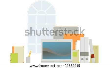 Office things near the window. Fully editable. Each object can be easily taken out of the composition and used separately.
