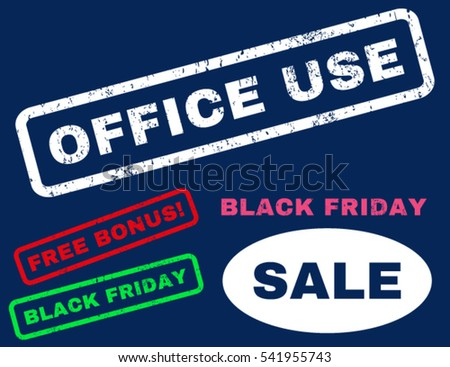 Office Use rubber seal stamp watermark with additional banners for Black Friday sales. Vector bright multicolored emblems. Caption inside rectangular banner with grunge design and dirty texture.