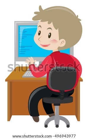 Office working working on computer illustration