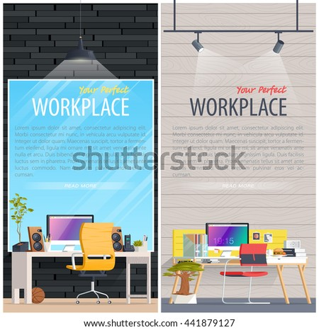 Christmas Office Illustration Flat Style Open Stock Vector 526282138 Shutterstock