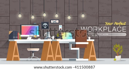 Office Workplace Interior Design Flat Concept Illustration Business Objects Elements Equipment