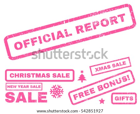 Official Report rubber seal stamp watermark with bonus images for Christmas and New Year offers. Text inside rectangular shape with grunge design and dirty texture. Vector pink stickers.