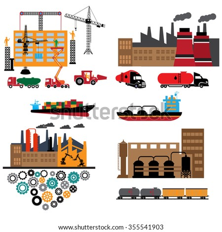 Oil industry business concept of gasoline diesel production fuel distribution and transportation . Vector illustration
