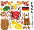 Oktoberfest party clipart elements isolated on white - stock vector