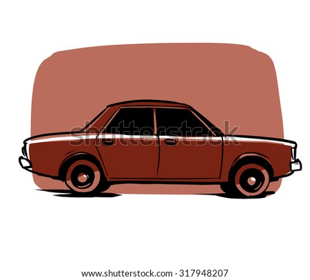 Cartoon Styled Vector Illustration Vintage Car Stock Vector