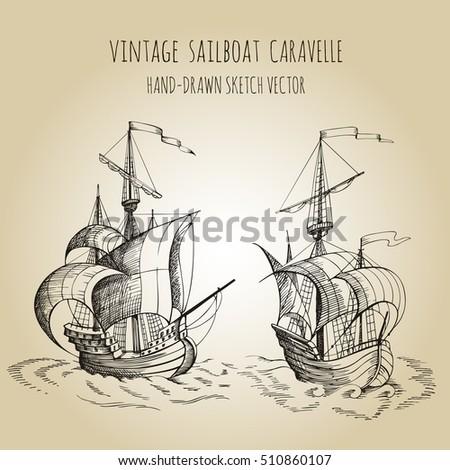 Vintage Sailboat Sketch Background Yach...