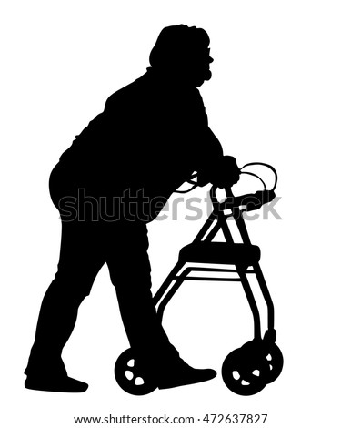 old disabled woman walk using walker stock vector 197372840
