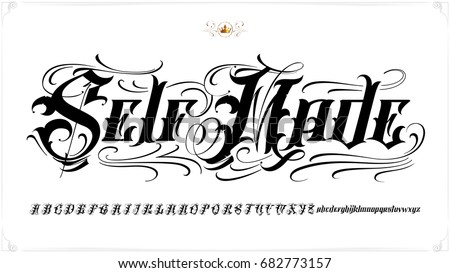 handmade vector calligraphy tattoo alphabet numbers stock vector 231516520 shutterstock. Black Bedroom Furniture Sets. Home Design Ideas