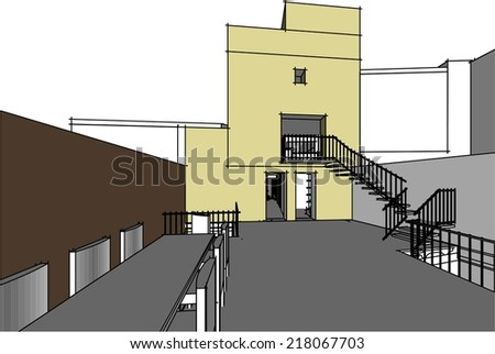 old house building vector background