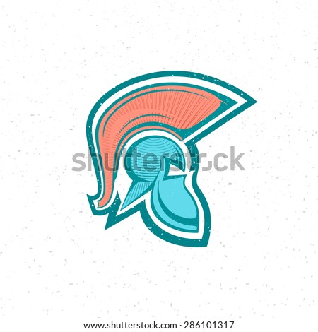 old Spartan, Greek or Roman warrior helmet logo for head protection soldiers with a crest of feathers or horsehair with slits for the eyes , engraving style grunge color vector illustration icon