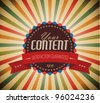 Old vector round retro vintage grunge label on sunrays background - stock vector