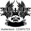 One Color Eagle Wings Skull Symbol Emblem - stock vector
