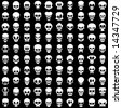 one hundred different skulls on black background - stock vector