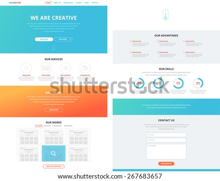 One page website design template in flat design style for web development. Business concept. Ideal to show as a concept in different presentations.