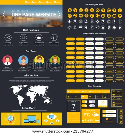 One page website design template with world map menu and slider vector illustration
