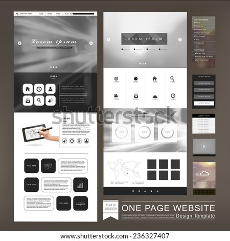 one page website template design in blurred background