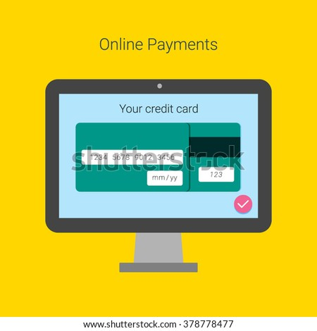 Online Payment Form Template Vector Credit Stock Vector 378778480
