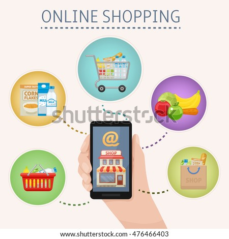 Online shopping concept with smartphone in hand and foodstuff icons around on white background vector illustration