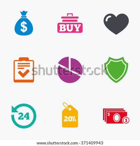 Online shopping, e-commerce and business icons. Checklist, like and pie chart signs. Money bag, discount and protection symbols. Flat colored graphic icons.