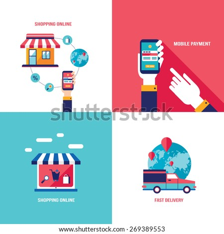 Online shopping ecommerce mobile payment successful stock for Shopping mobili online