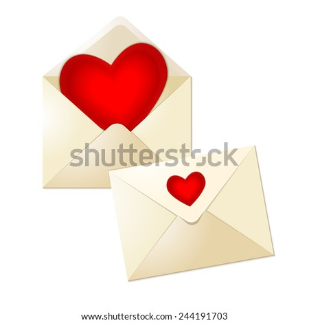 Open and close envelopes with glass red hearts for valentine day on white background. Red heart in white paper envelope. Vector illustration.