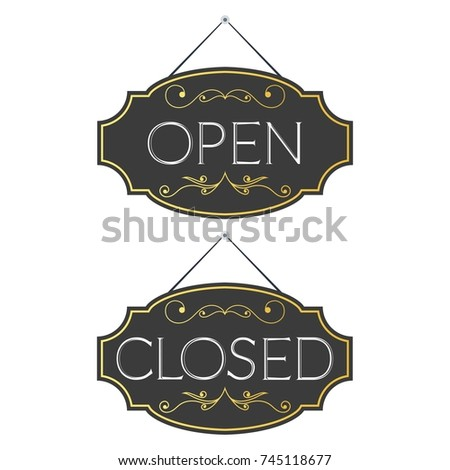 Hotel sign stock vector 63367024 shutterstock for Open closed sign template