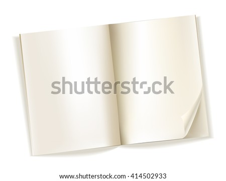 open blank magazine yellowish pages on white. vector